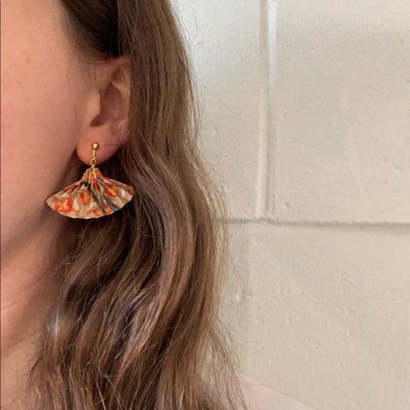 Vintage Brass and Paper Fan Earrings